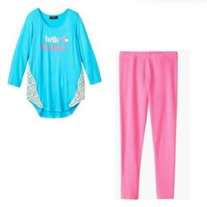 Hello Beautiful Top and Pink Leggings Set size 16